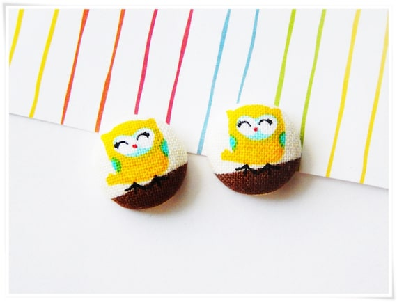 Owl Stud Earrings - Tiny Owl Fabric-Covered Button - Cute, Yellow Kawaii Owls