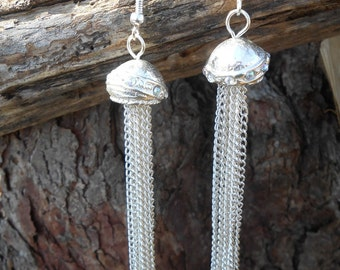 Silver Ball And Chain Chandelier Earrings