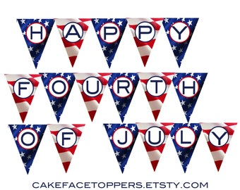 DIY 4th of july independence day banner. DIY printable file