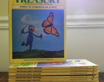 Set of 14 Sesame Street Treasury Vintage Hardcover Books 1974 - Almost a complete set (only one missing)