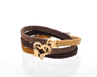 24k gold,Vegan brecelete, musical heart, Wax cords bracelet,sol key,fa key,brown brecelete,charm brecelete