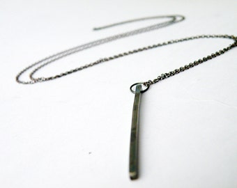 Long Geometric Bar Necklace Oxidized Sterling Silver Necklace Minimalist Pendant Necklace by SteamyLab