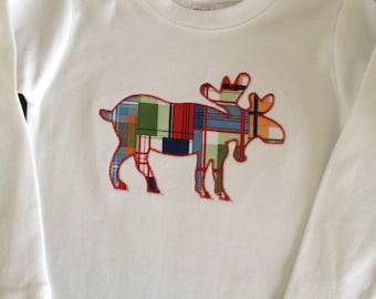 Moose applique long sleeve shirt