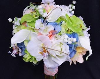 Wedding Green, Peach and Blue Spring Mix Silk Flower Bride Bouquet