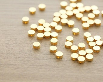 50 pcs of Gold Plated Flat Round Brass Beads - 5mm