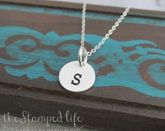 Tiny Sterling Silver Hand Stamped Personalized Initial Necklace Charm