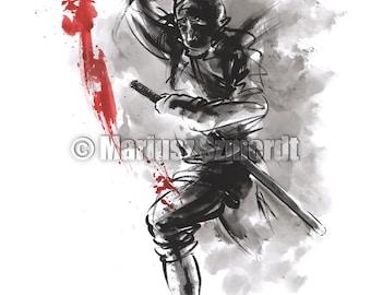 Ninja, japanese sword, ninja art, ninja poster, japanese warrior, japanese calligraphy, ink painting