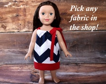 """Navy Chevron Dress Matching Girl Doll Clothes 18 inch American Girl Doll Our Generation AG OG 18"""" pillowcase Dolly and me Easter birthday"""