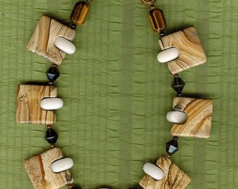 Brown Sugar - African Queen Picture Jasper, Smoky Quartz, Tiger's Eye, Jade, Sterling Silver Necklace