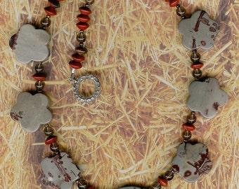 Spotted - Chohua Jasper, Smoky Quartz, Red Jasper, Freshwater Pearls, Sterling Silver Necklace