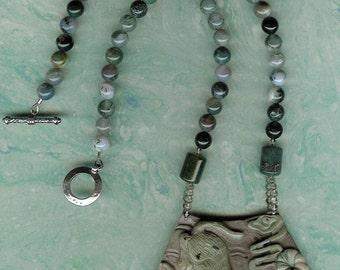 Romper Room- Carved Ribbon Jasper Cat Pendant, Moss Agate, Smoky Quartz, Fancy Jasper, Sterling Silver Necklace