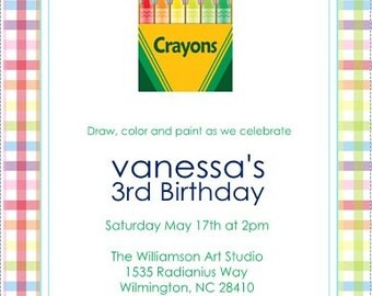 Crayon Birthday Invitation- 12 Printed Invites -
