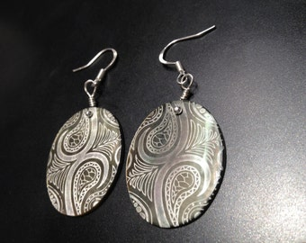 Laser Carved Shell Silver Earrings