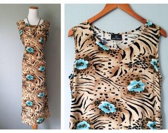 Vintage Animal Print Dress 1990's Tropical Dress Cheetah Tiger Black Blue Floral Shift Dress Sleeveless Bohemian Dress Size Medium Large