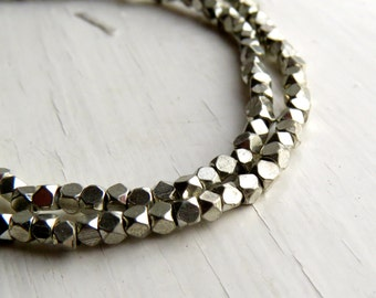 Silver-plated brass faceted beads - cornerless cubes (40) 3/3.5 x 3mm, silver tone beads, brass beads, spacer beads, faceted beads