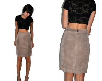 Vintage 90's Tan Suede Leather Skirt