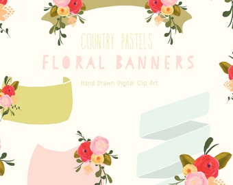 Hand Drawn Floral Banner Clip Art - Country Pastels