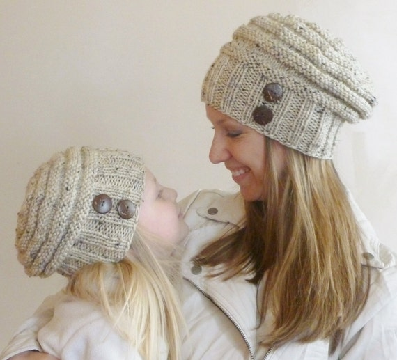Mother's Day Gift! Mommy and Me Matching Hand Knit Slouch Hats with Coconut Buttons, Knit Toddler Hat, Knit Kids Hat, Knit Women's Hat
