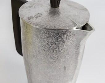 retro coffee pot, Mid Century kitchen, Hammered aluminum, vintage kitchen, Mid century hammered aluminum, Hammercraft  Cookware