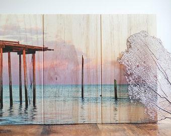 Broken Pier Photo Printed on Sustainable Wood