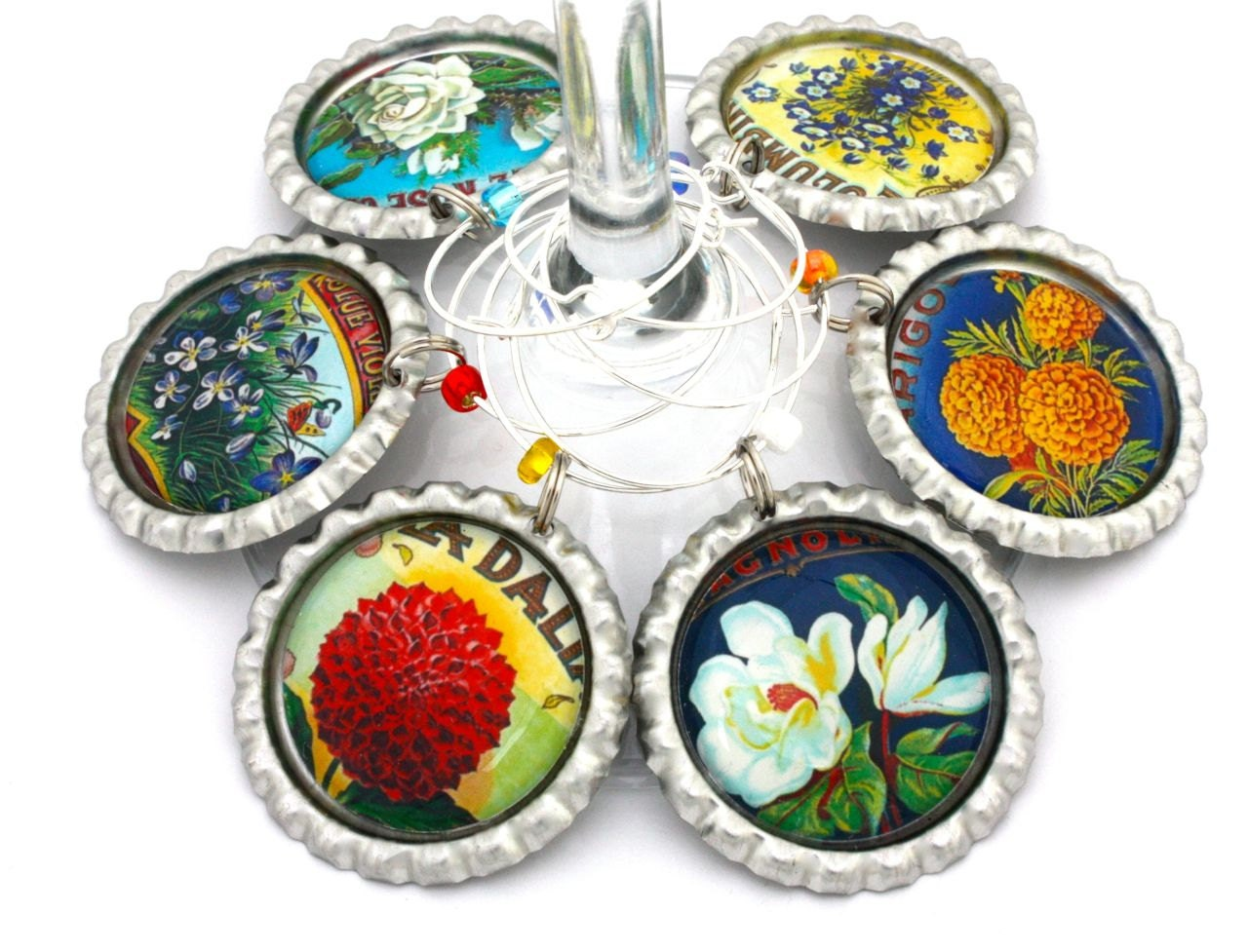 Flowers For Bridal Shower Favors : Flower bridal shower favors vintage seed packet wine charms