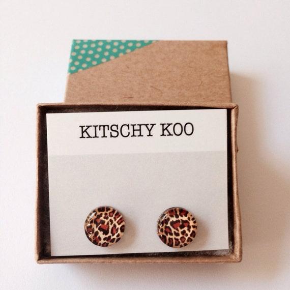 FREE SHIPPING - Leopard Print Earrings - Surgical Steel - Animal Print Earring Studs - Sensitive Ears