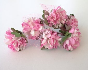 Set of 6  Pink Flower Hair Clips, Bridal Hair Accessories, Wedding Hair Accessories - Set of 6