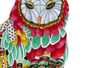 Art Print. Owl Aura. Candy Colored Edition