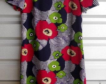 Abstract Floral Print Shift Dress