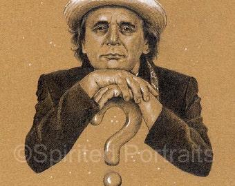 DOCTOR WHO - 7th Doctor Sylvester McCoy  A4 Art Print (29.7 x 42 cm)