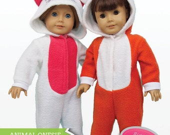 Pixie Faire Stacy and Stella Animal Jumpsuit Doll Clothes Pattern for 18 inch American Girl Dolls - PDF