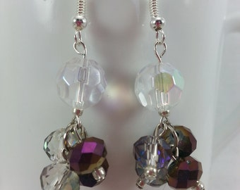 Handmade clear AB  Czech glass with Purple and clear Rondelle dangle cluster earrings
