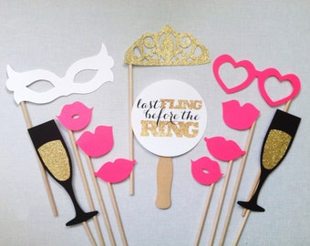 12-Piece Bachelorette Photo Booth Props - Bachelorette Party - Last Fling Before the Ring - Glitter Photobooth Props - Wedding Photo Booth