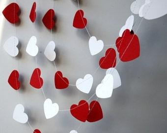 Wedding decoration, Valentines day heart garland - Red white heart garland - Valentine decor - Valentines day decor - Paper garland