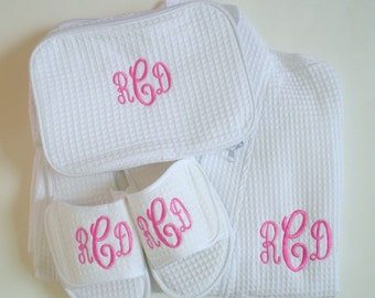 Monogram 3 Piece Set Wedding Party Gift Robe, Slippers, and Cosmetic Bag