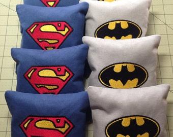 8 CORNHOLE BAGS Custom Embroidered: Superman/Batman