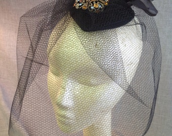 Black Satin Fascinator Hat with Blusher