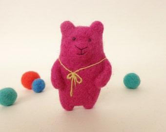 Felt Animal, Felted Bear Brooch, Pink Bear Brooch, Handmade Brooch, Needle  Felted Bear