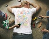 S, Train Play Mat Shirt, Father Son Shirts, Christmas Dad Gift, Train Shirt for Dad, Back Rub Shirt, Dad Birthday Gift, Gifts for Dad