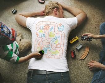 S - Train Play Mat Shirt. Father's Day Gift for Dad. Train Shirt for Dad. Back Rub Shirt. Dad Gift. Dad Birthday Gift.