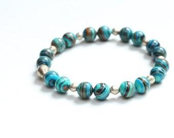 summer birthday gift idea / colorful bracelet / colorful jewelry / teal stretch bracelet / ethiopian nickel / multicolor bead bracelet #418