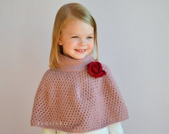 Instant download Crochet capelet cape poncho pattern for girls and women