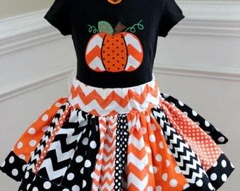 Halloween skirt for girls black and orange polkadot girl skirt birthday twirly skirt fall skirt pumpkin skirt size 2t 3t 4t 5 6 8 10 12