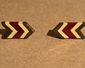 Arrow Post Earrings - Brown, Red and Cream - Red Shimmer - Chevron Polymer Clay
