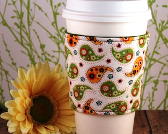 Fabric Coffee Cozy / Paisley Coffee Cozy / Coffee Cozy / Tea Cozy