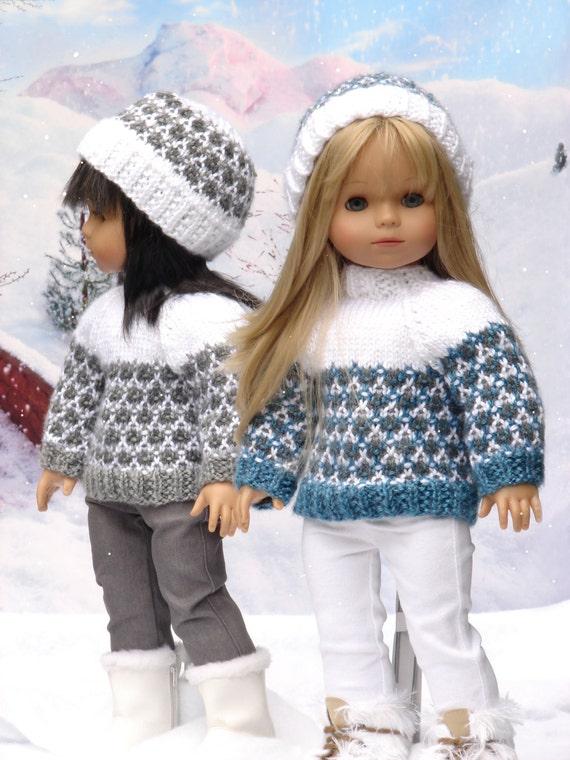 Olympia, PDF Doll Clothes a faux fair isle sweater and ski hat ...