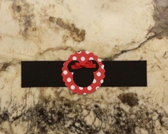 12 Minnie Mouse Napkin Ring - Red w/ white Polka Dots