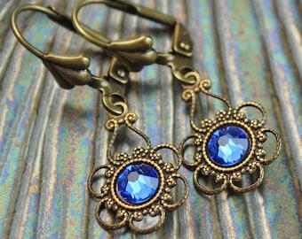 Sapphire Earrings,Something Blue, Blue Crystal Earring, Victorian Earring, Blue Sapphire, Blue Ice, Renaissance, Vintage, Wedding, 26 COLORS
