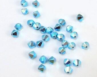 Genurine Swarovski Crystal 4mm Bicones, 24 Turquoise Blue AB 2X Bicone Beads, Swarovski Crystal Beads, Item 133B
