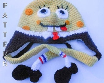 Crochet Pattern - Spongebob Hat, Character Hat, Animal Hat, Earflap, Beanie